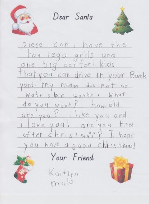 Kaitlyn's santa letter