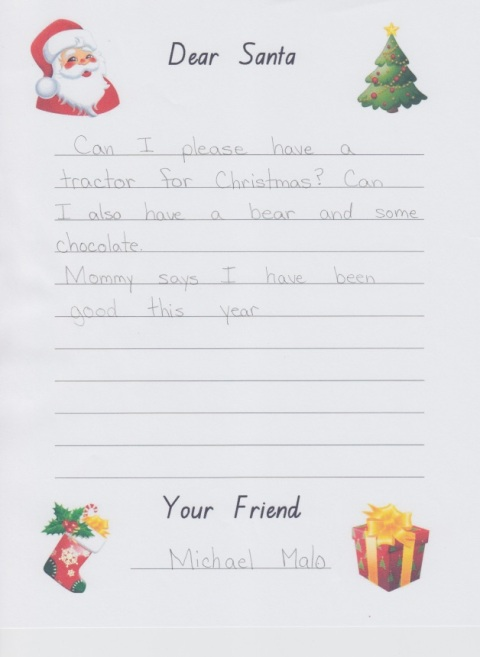 Michael's santa letter