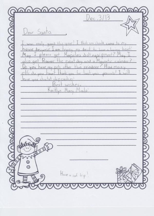 Kaitlyn's santa letter 1